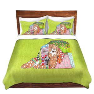 Artistic Duvet Covers and Shams Bedding | Marley Ungaro - Labrador Retriever Dog Lime