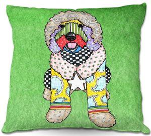 Decorative Outdoor Patio Pillow Cushion | Marley Ungaro - Labradoodle Dog Green