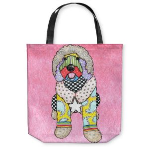 Unique Shoulder Bag Tote Bags | Marley Ungaro Labradoodle Dog Light Pink