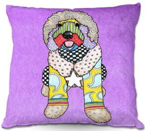 Decorative Outdoor Patio Pillow Cushion | Marley Ungaro - Labradoodle Dog Violet