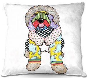 Throw Pillows Decorative Artistic | Marley Ungaro Labradoodle Dog White