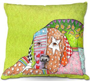 Decorative Outdoor Patio Pillow Cushion | Marley Ungaro - Labrador Retriever Dog Lime