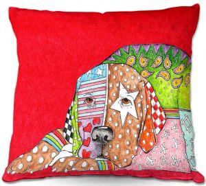 Decorative Outdoor Patio Pillow Cushion | Marley Ungaro - Labrador Retriever Dog Red