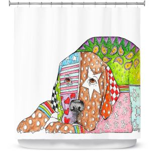 Unique Shower Curtains 71w x 74h Inches from DiaNoche Designs by Marley Ungaro  - Lab Dog
