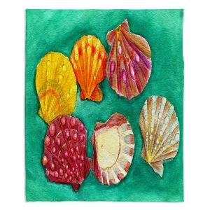 Decorative Fleece Throw Blankets | Marley Ungaro - Lionpaw Scallops | Ocean seashell still life nature