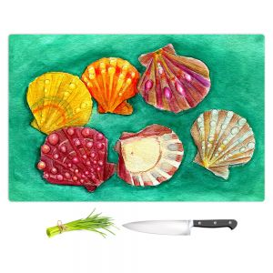 Artistic Kitchen Bar Cutting Boards | Marley Ungaro - Lionpaw Scallops | Ocean seashell still life nature