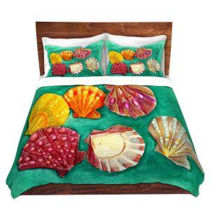 Artistic Duvet Covers and Shams Bedding | Marley Ungaro - Lionpaw Scallops | Ocean seashell still life nature