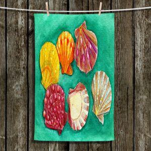 Unique Hanging Tea Towels | Marley Ungaro - Lionpaw Scallops | Ocean seashell still life nature
