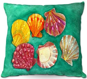Decorative Outdoor Patio Pillow Cushion | Marley Ungaro - Lionpaw Scallops | Ocean seashell still life nature