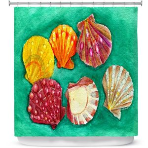 Premium Shower Curtains | Marley Ungaro - Lionpaw Scallops | Ocean seashell still life nature