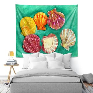 Artistic Wall Tapestry | Marley Ungaro - Lionpaw Scallops | Ocean seashell still life nature