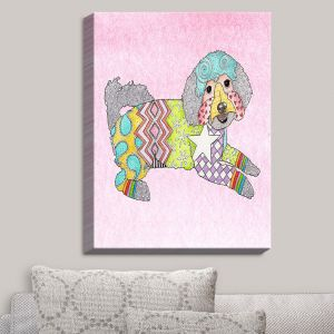 Decorative Canvas Wall Art   Marley Ungaro - Maltipoo Pastel Pink   Dog Dogs Animals Pets Colorful Funky Maltipoo