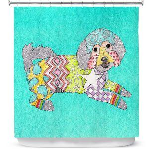 Premium Shower Curtains | Marley Ungaro - Maltipoo Turquoise