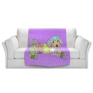 Artistic Sherpa Pile Blankets   Marley Ungaro - Maltipoo Violet