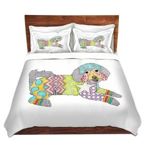 Artistic Duvet Covers and Shams Bedding | Marley Ungaro - Maltipoo White