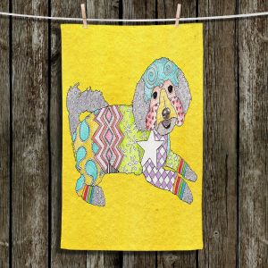 Unique Hanging Tea Towels | Marley Ungaro - Maltipoo Yellow | Dog Dogs Animals Pets Colorful Funky Maltipoo
