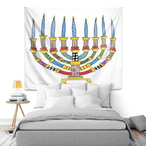Artistic Wall Tapestry | Marley Ungaro - Menorahh | Jewish Candles