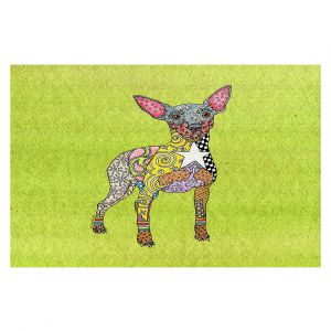 Decorative Floor Covering Mats | Marley Ungaro - Mini Pinscher Lime | Dog animal pattern abstract whimsical