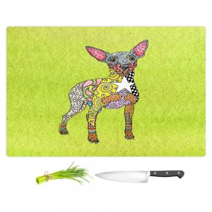 Artistic Kitchen Bar Cutting Boards | Marley Ungaro - Mini Pinscher Lime | Dog animal pattern abstract whimsical