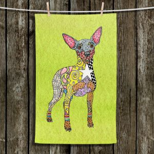 Unique Hanging Tea Towels | Marley Ungaro - Mini Pinscher Lime | Dog animal pattern abstract whimsical