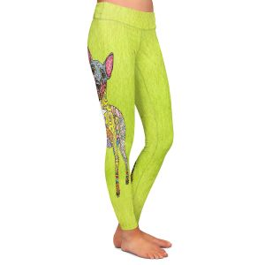 Casual Comfortable Leggings | Marley Ungaro - Mini Pinscher Lime | Dog animal pattern abstract whimsical