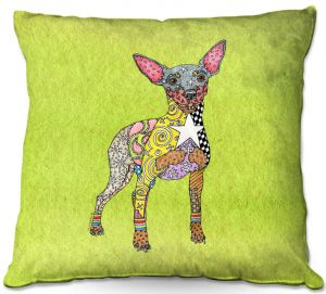 Throw Pillows Decorative Artistic | Marley Ungaro - Mini Pinscher Lime | Dog animal pattern abstract whimsical