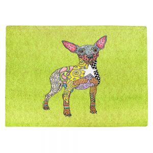 Countertop Place Mats | Marley Ungaro - Mini Pinscher Lime | Dog animal pattern abstract whimsical