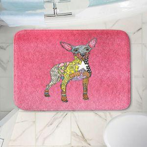 Decorative Bathroom Mats | Marley Ungaro - Mini Pinscher Pink | Dog animal pattern abstract whimsical