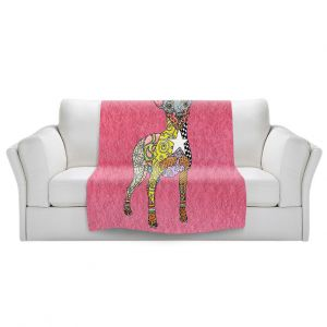 Artistic Sherpa Pile Blankets   Marley Ungaro - Mini Pinscher Pink   Dog animal pattern abstract whimsical