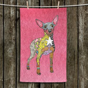 Unique Bathroom Towels   Marley Ungaro - Mini Pinscher Pink   Dog animal pattern abstract whimsical