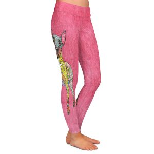 Casual Comfortable Leggings | Marley Ungaro - Mini Pinscher Pink | Dog animal pattern abstract whimsical