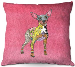 Throw Pillows Decorative Artistic   Marley Ungaro - Mini Pinscher Pink   Dog animal pattern abstract whimsical