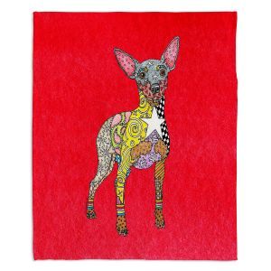 Decorative Fleece Throw Blankets | Marley Ungaro - Mini Pinscher Red | Dog animal pattern abstract whimsical