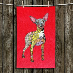 Unique Bathroom Towels   Marley Ungaro - Mini Pinscher Red   Dog animal pattern abstract whimsical