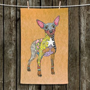 Unique Hanging Tea Towels | Marley Ungaro - Mini Pinscher Tan | Dog animal pattern abstract whimsical