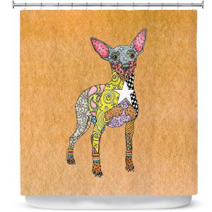 Premium Shower Curtains | Marley Ungaro - Mini Pinscher Tan | Dog animal pattern abstract whimsical