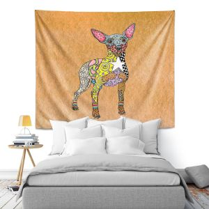 Artistic Wall Tapestry | Marley Ungaro - Mini Pinscher Tan | Dog animal pattern abstract whimsical