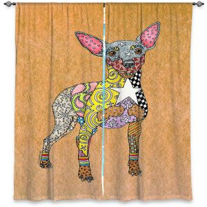 Decorative Window Treatments | Marley Ungaro - Mini Pinscher Tan | Dog animal pattern abstract whimsical