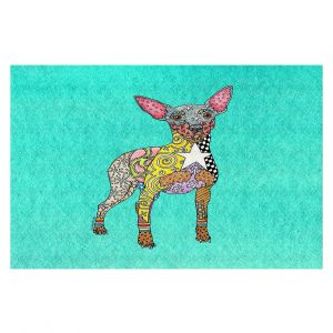 Decorative Floor Covering Mats | Marley Ungaro - Mini Pinscher Turquoise | Dog animal pattern abstract whimsical