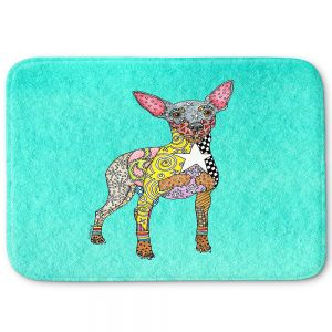 Decorative Bathroom Mats | Marley Ungaro - Mini Pinscher Turquoise | Dog animal pattern abstract whimsical