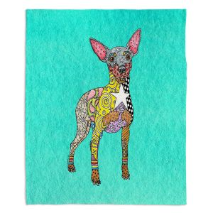 Decorative Fleece Throw Blankets | Marley Ungaro - Mini Pinscher Turquoise | Dog animal pattern abstract whimsical