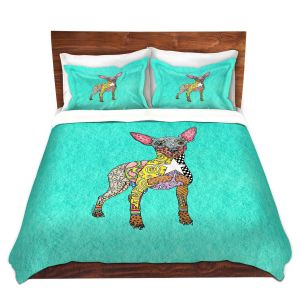 Artistic Duvet Covers and Shams Bedding   Marley Ungaro - Mini Pinscher Turquoise   Dog animal pattern abstract whimsical
