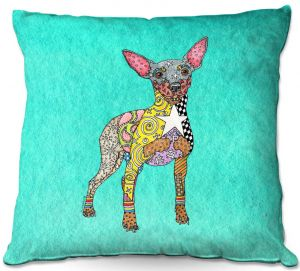 Decorative Outdoor Patio Pillow Cushion | Marley Ungaro - Mini Pinscher Turquoise | Dog animal pattern abstract whimsical