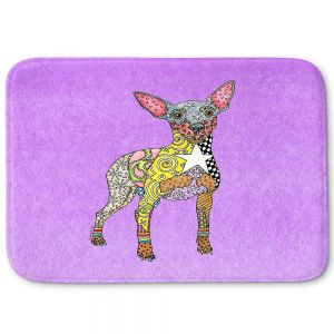 Decorative Bathroom Mats | Marley Ungaro - Mini Pinscher Violet | Dog animal pattern abstract whimsical