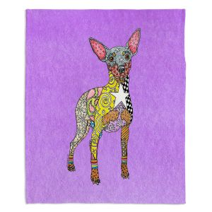 Artistic Sherpa Pile Blankets | Marley Ungaro - Mini Pinscher Violet | Dog animal pattern abstract whimsical