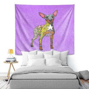 Artistic Wall Tapestry | Marley Ungaro - Mini Pinscher Violet | Dog animal pattern abstract whimsical