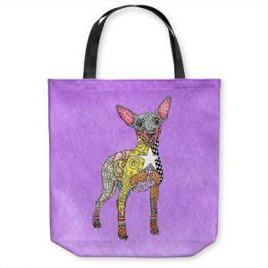 Unique Shoulder Bag Tote Bags   Marley Ungaro - Mini Pinscher Violet   Dog animal pattern abstract whimsical