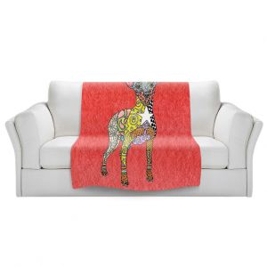 Artistic Sherpa Pile Blankets   Marley Ungaro - Mini Pinscher Watermelon   Dog animal pattern abstract whimsical