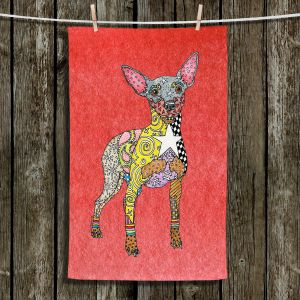 Unique Hanging Tea Towels | Marley Ungaro - Mini Pinscher Watermelon | Dog animal pattern abstract whimsical