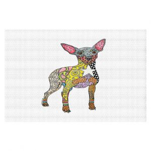 Decorative Floor Covering Mats | Marley Ungaro - Mini Pinscher White | Dog animal pattern abstract whimsical